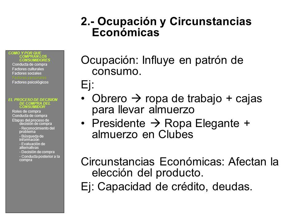 2.- Ocupación y Circunstancias Económicas Ocupación: Influye en patrón de consumo. Ej: Obrero ropa de trabajo + cajas para llevar almuerzo Presidente