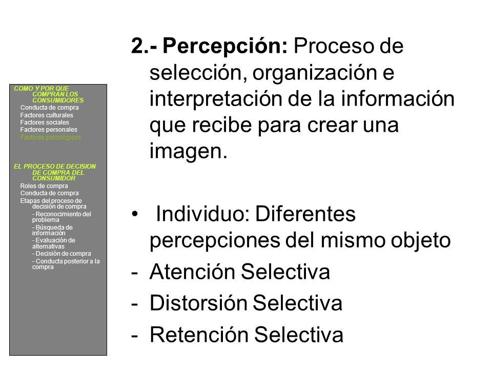 2.- Percepción: Proceso de selección, organización e interpretación de la información que recibe para crear una imagen. Individuo: Diferentes percepci