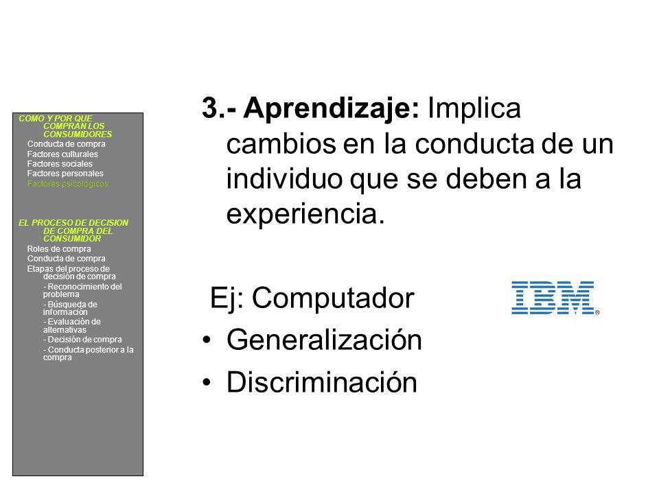 3.- Aprendizaje: Implica cambios en la conducta de un individuo que se deben a la experiencia. Ej: Computador Generalización Discriminación COMO Y POR