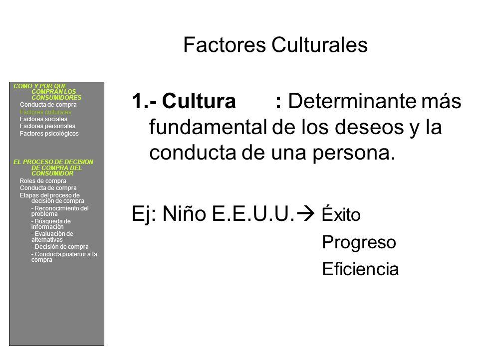 Factores Culturales 1.- Cultura: Determinante más fundamental de los deseos y la conducta de una persona. Ej: Niño E.E.U.U. Éxito Progreso Eficiencia