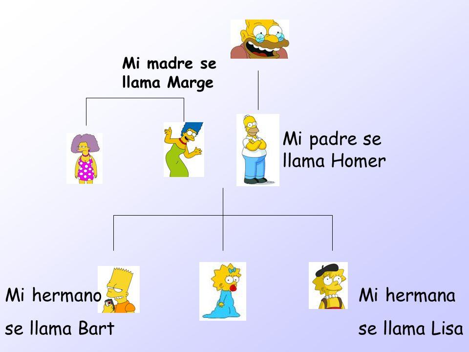 Mi padre se llama Homer Mi hermana se llama Lisa Mi hermano se llama Bart Mi madre se llama Marge