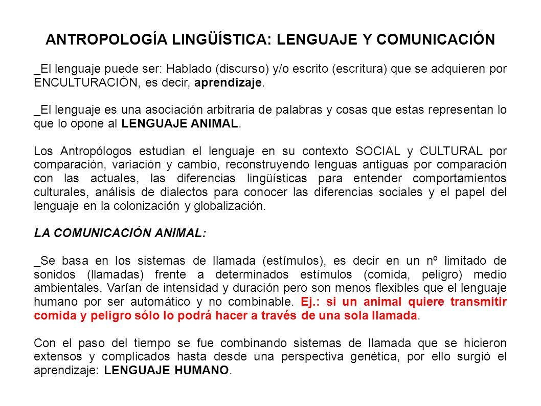 ANTROPOLOGÍA LINGÜÍSTICA: LENGUAJE Y COMUNICACIÓN _El lenguaje puede ser: Hablado (discurso) y/o escrito (escritura) que se adquieren por ENCULTURACIÓ