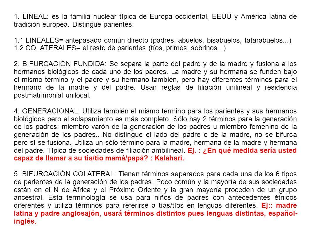1. LINEAL: es la familia nuclear típica de Europa occidental, EEUU y América latina de tradición europea. Distingue parientes: 1.1 LINEALES= antepasad