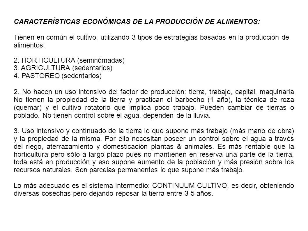 CARACTERÍSTICAS ECONÓMICAS DE LA PRODUCCIÓN DE ALIMENTOS: Tienen en común el cultivo, utilizando 3 tipos de estrategias basadas en la producción de al