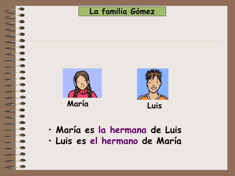 María Luis + Alicia Paco Alicia es la mujer de Paco Paco es el marido de Alicia Alicia es la madre de María Paco es el padre de Luis María es la hija de Paco Luis es el hijo de Alicia La familia Gómez