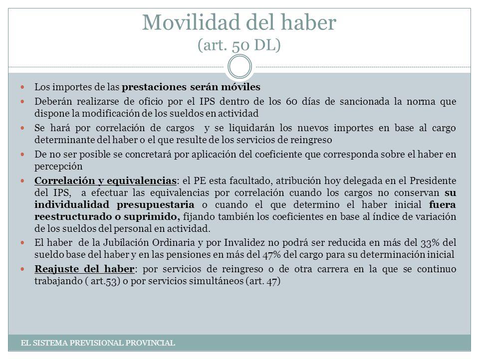 Movilidad del haber (art.