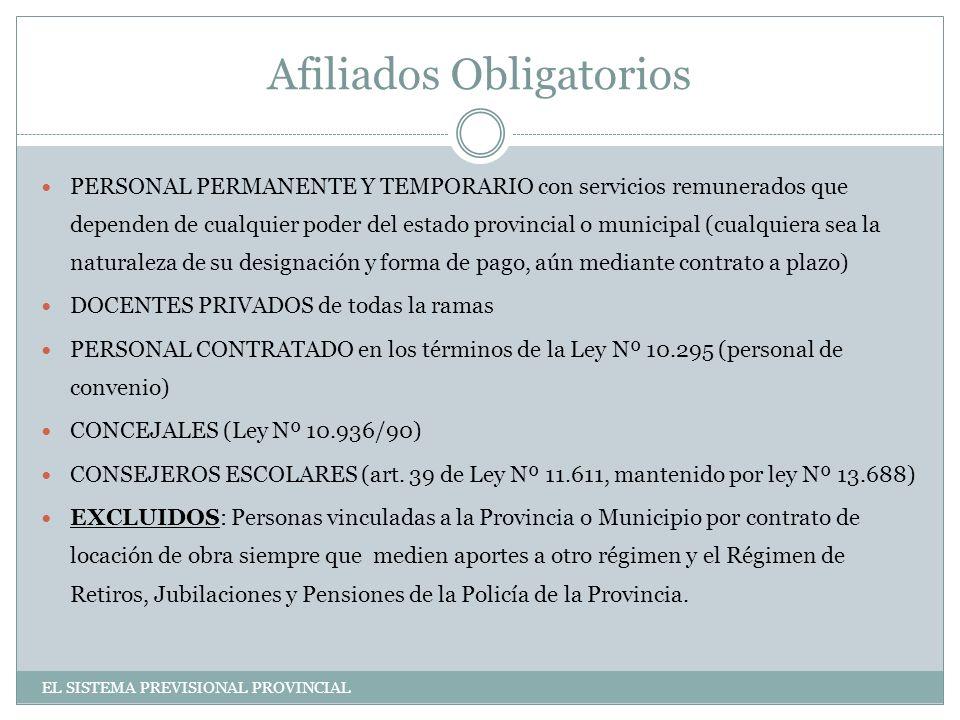Afiliados Obligatorios PERSONAL PERMANENTE Y TEMPORARIO con servicios remunerados que dependen de cualquier poder del estado provincial o municipal (cualquiera sea la naturaleza de su designación y forma de pago, aún mediante contrato a plazo) DOCENTES PRIVADOS de todas la ramas PERSONAL CONTRATADO en los términos de la Ley Nº 10.295 (personal de convenio) CONCEJALES (Ley Nº 10.936/90) CONSEJEROS ESCOLARES (art.