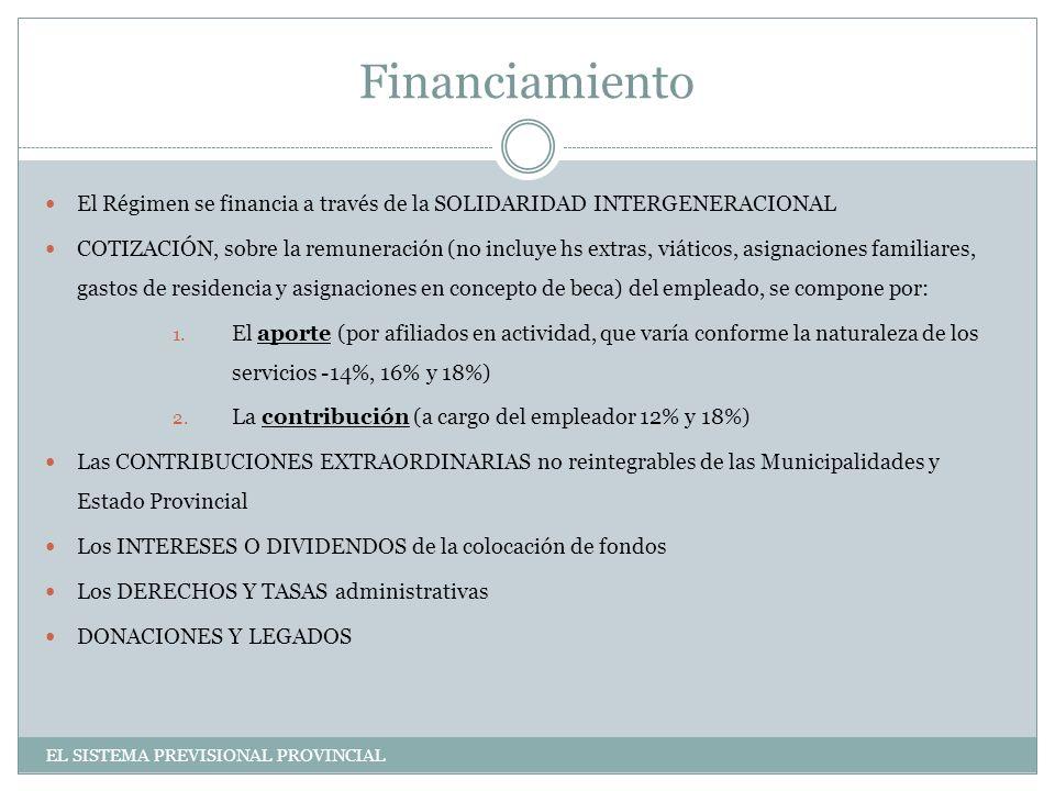 Financiamiento El Régimen se financia a través de la SOLIDARIDAD INTERGENERACIONAL COTIZACIÓN, sobre la remuneración (no incluye hs extras, viáticos, asignaciones familiares, gastos de residencia y asignaciones en concepto de beca) del empleado, se compone por: 1.