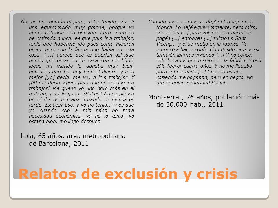Relatos de exclusión y crisis No, no he cobrado el paro, ni he tenido..
