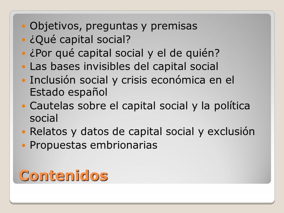 Contenidos Objetivos, preguntas y premisas ¿Qué capital social.
