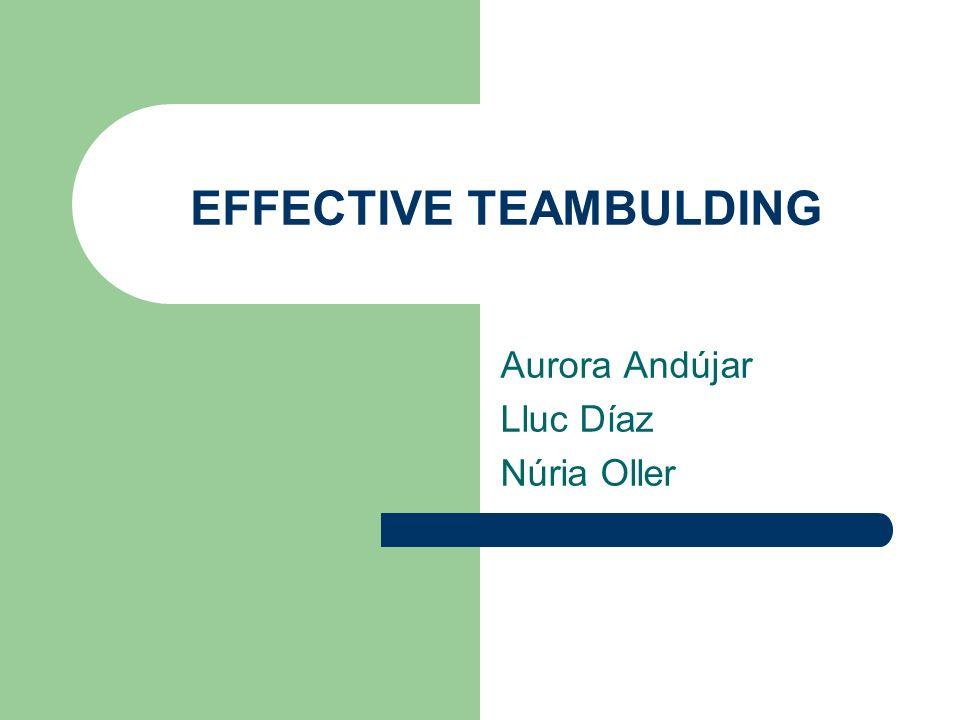 EFFECTIVE TEAMBULDING Aurora Andújar Lluc Díaz Núria Oller