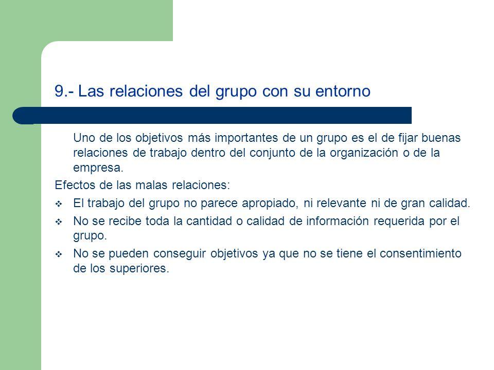 9.- Las relaciones del grupo con su entorno Uno de los objetivos más importantes de un grupo es el de fijar buenas relaciones de trabajo dentro del co