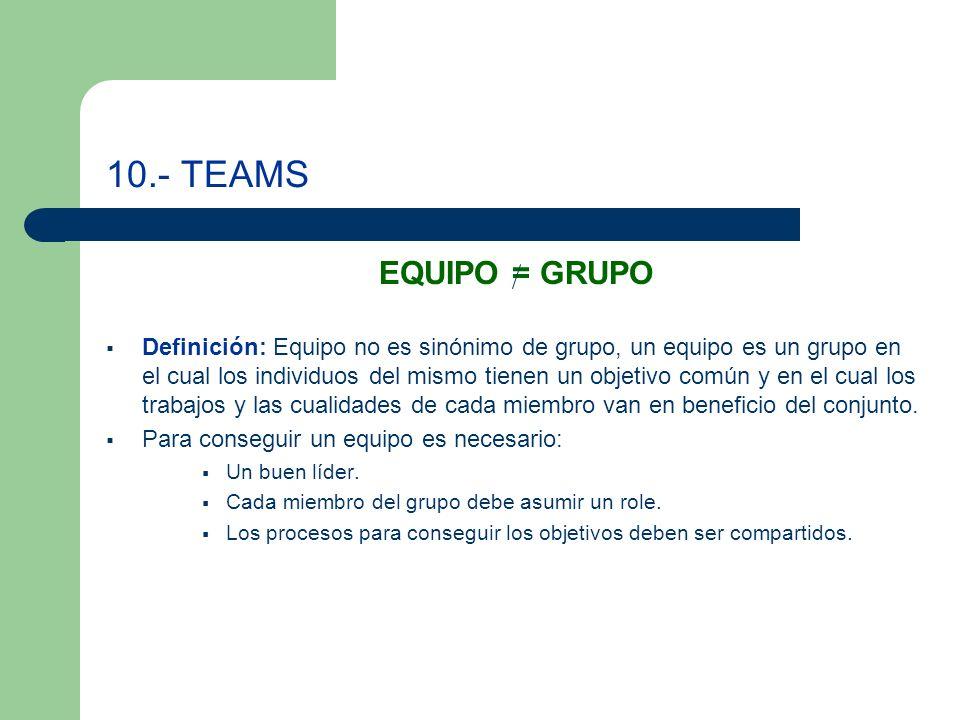 10.- TEAMS EQUIPO = GRUPO Definición: Equipo no es sinónimo de grupo, un equipo es un grupo en el cual los individuos del mismo tienen un objetivo común y en el cual los trabajos y las cualidades de cada miembro van en beneficio del conjunto.