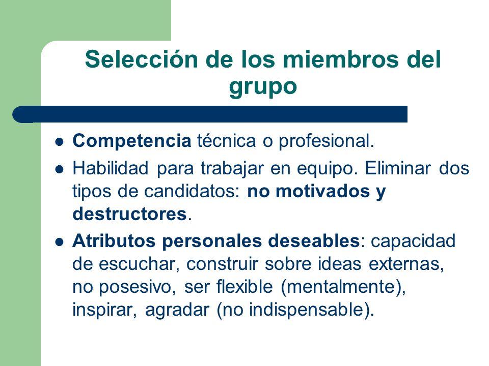 Selección de los miembros del grupo Competencia técnica o profesional. Habilidad para trabajar en equipo. Eliminar dos tipos de candidatos: no motivad