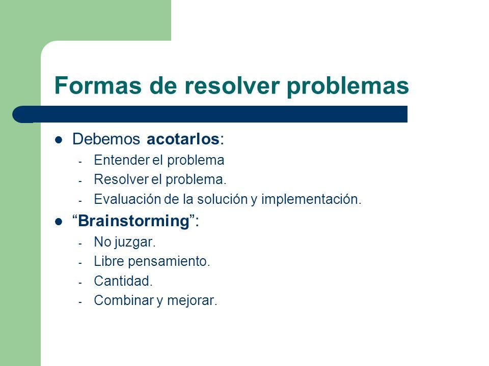 Formas de resolver problemas Debemos acotarlos: - Entender el problema - Resolver el problema. - Evaluación de la solución y implementación. Brainstor