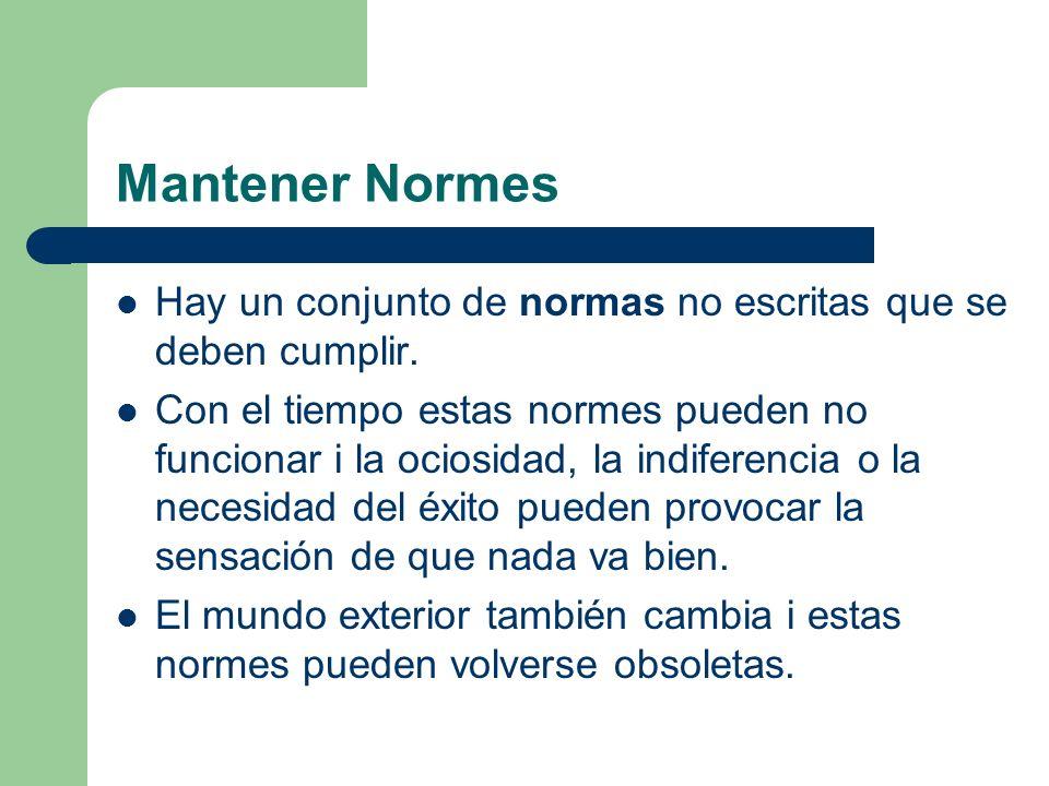 Mantener Normes Hay un conjunto de normas no escritas que se deben cumplir.
