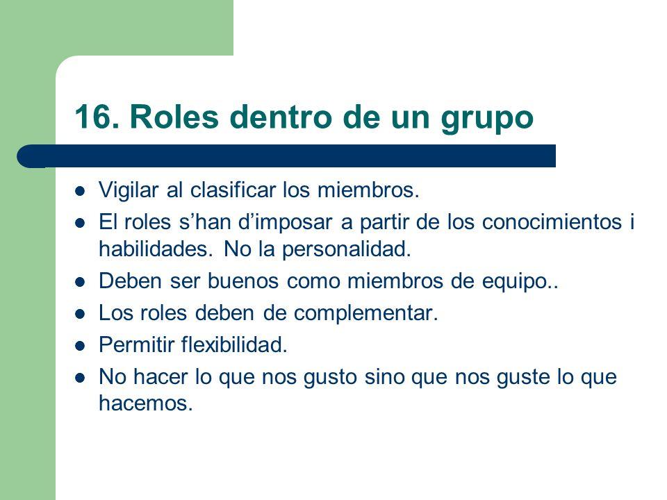 16. Roles dentro de un grupo Vigilar al clasificar los miembros. El roles shan dimposar a partir de los conocimientos i habilidades. No la personalida