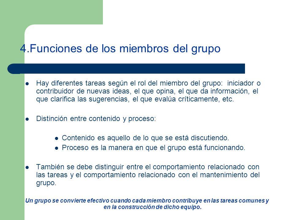 4.Funciones de los miembros del grupo Hay diferentes tareas según el rol del miembro del grupo: iniciador o contribuidor de nuevas ideas, el que opina, el que da información, el que clarifica las sugerencias, el que evalúa críticamente, etc.