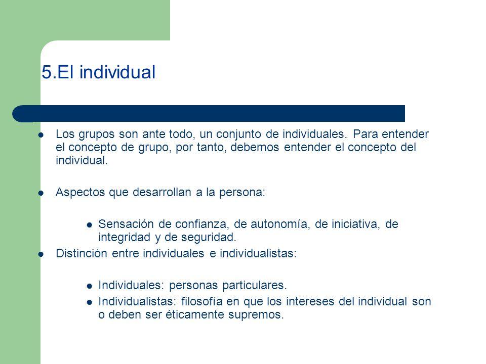 5.El individual Los grupos son ante todo, un conjunto de individuales. Para entender el concepto de grupo, por tanto, debemos entender el concepto del