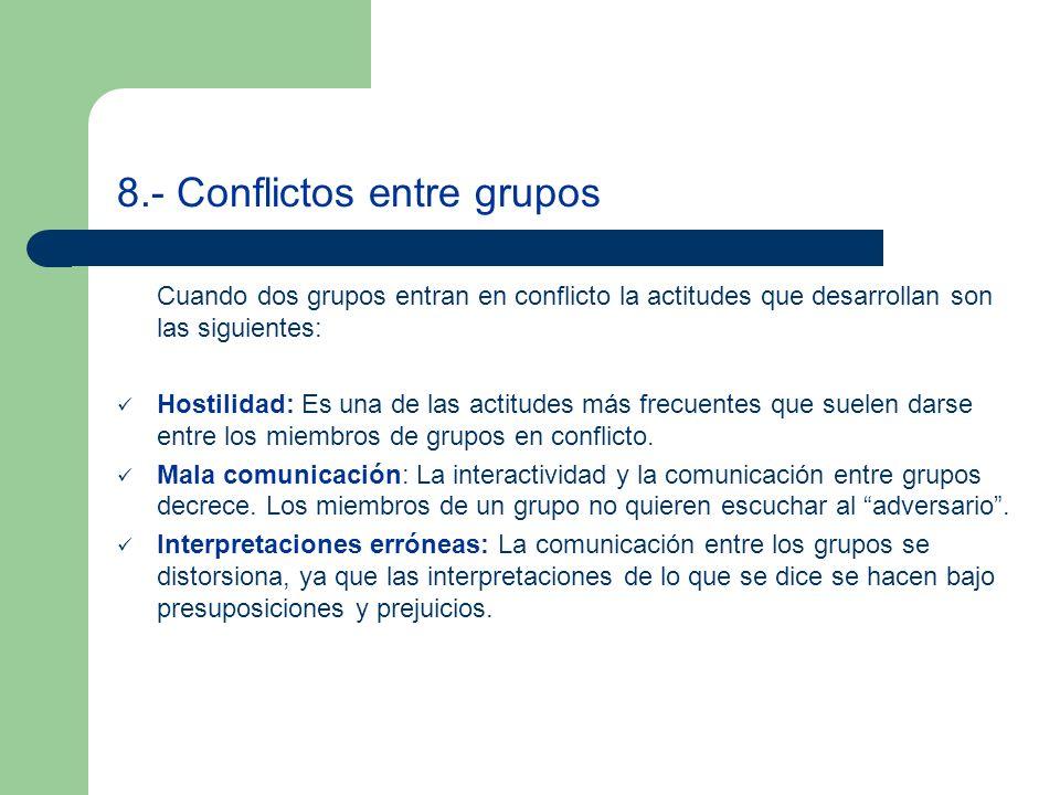 8.- Conflictos entre grupos Cuando dos grupos entran en conflicto la actitudes que desarrollan son las siguientes: Hostilidad: Es una de las actitudes