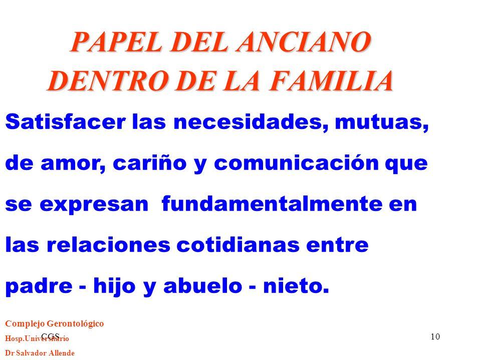 CGS10 PAPEL DEL ANCIANO DENTRO DE LA FAMILIA Satisfacer las necesidades, mutuas, de amor, cariño y comunicación que se expresan fundamentalmente en la