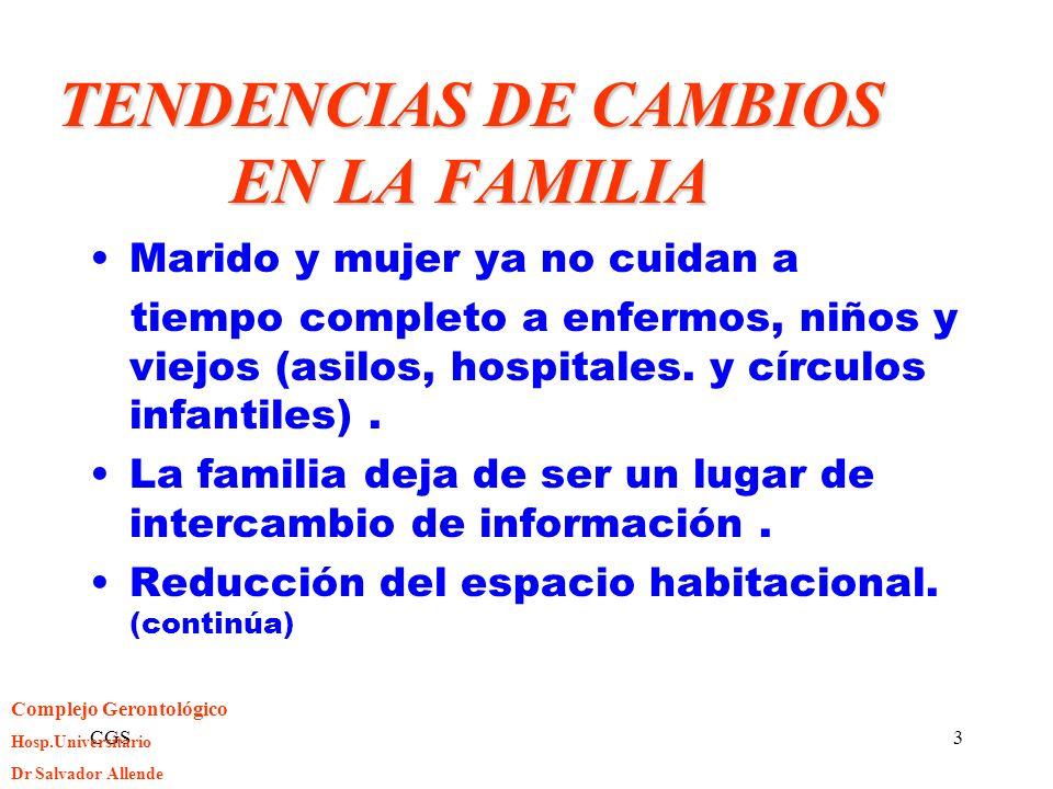 CGS3 TENDENCIAS DE CAMBIOS EN LA FAMILIA Marido y mujer ya no cuidan a tiempo completo a enfermos, niños y viejos (asilos, hospitales. y círculos infa