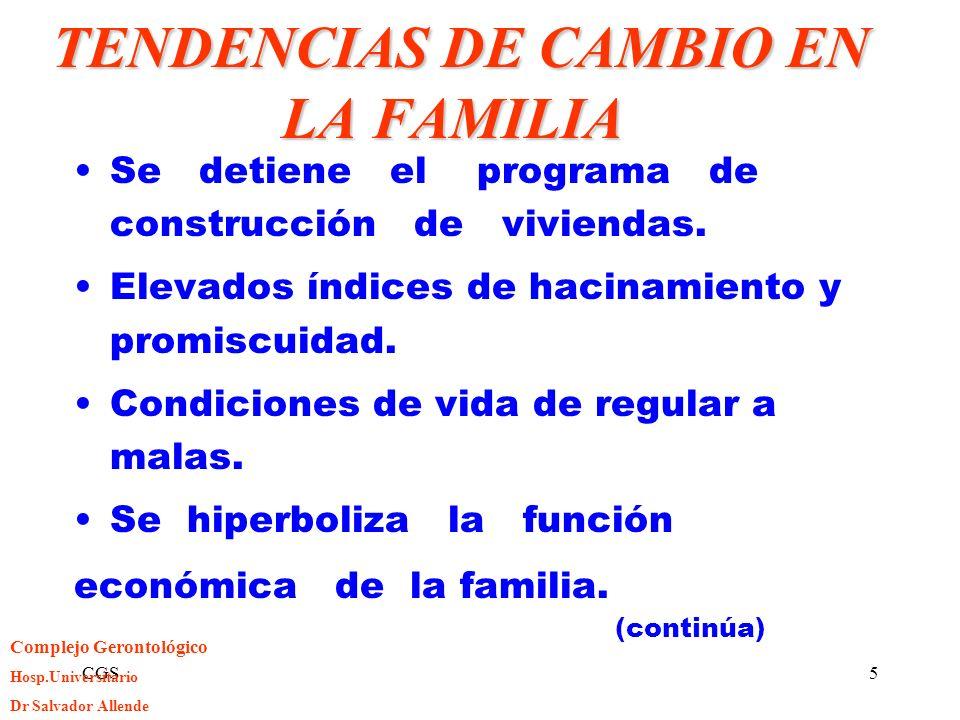 CGS5 TENDENCIAS DE CAMBIO EN LA FAMILIA TENDENCIAS DE CAMBIO EN LA FAMILIA Se detiene el programa de construcción de viviendas. Elevados índices de ha