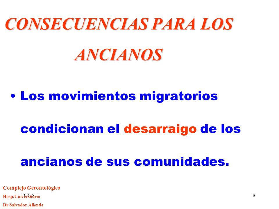 CGS8 CONSECUENCIAS PARA LOS ANCIANOS Los movimientos migratorios condicionan el desarraigo de los ancianos de sus comunidades. Complejo Gerontológico