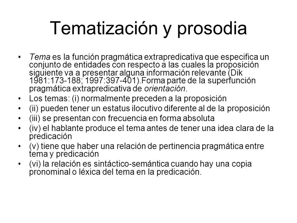 Tematización y prosodia Tema es la función pragmática extrapredicativa que especifica un conjunto de entidades con respecto a las cuales la proposició