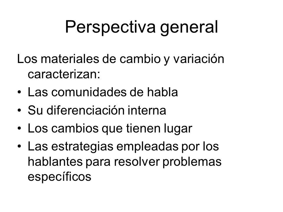 Perspectiva general Los materiales de cambio y variación caracterizan: Las comunidades de habla Su diferenciación interna Los cambios que tienen lugar