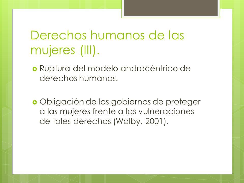 Derechos humanos de las mujeres (III). Ruptura del modelo androcéntrico de derechos humanos. Obligación de los gobiernos de proteger a las mujeres fre