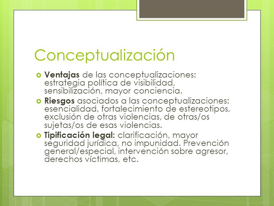 Conceptualización Ventajas de las conceptualizaciones: estrategia política de visibilidad, sensibilización, mayor conciencia. Riesgos asociados a las