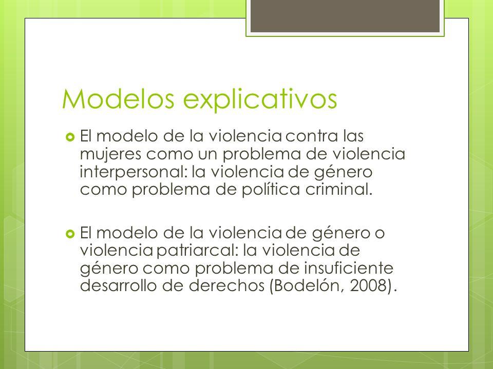 Modelos explicativos El modelo de la violencia contra las mujeres como un problema de violencia interpersonal: la violencia de género como problema de
