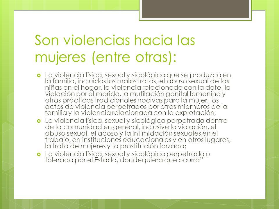Son violencias hacia las mujeres (entre otras): La violencia física, sexual y sicológica que se produzca en la familia, incluidos los malos tratos, el