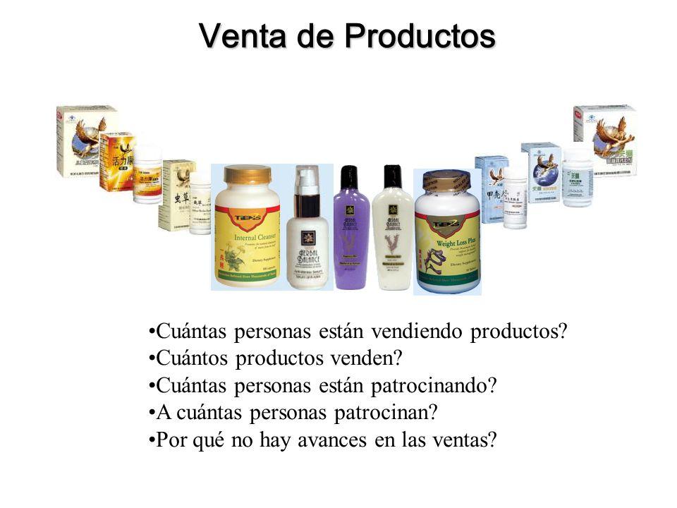Venta de Productos Cuántas personas están vendiendo productos? Cuántos productos venden? Cuántas personas están patrocinando? A cuántas personas patro