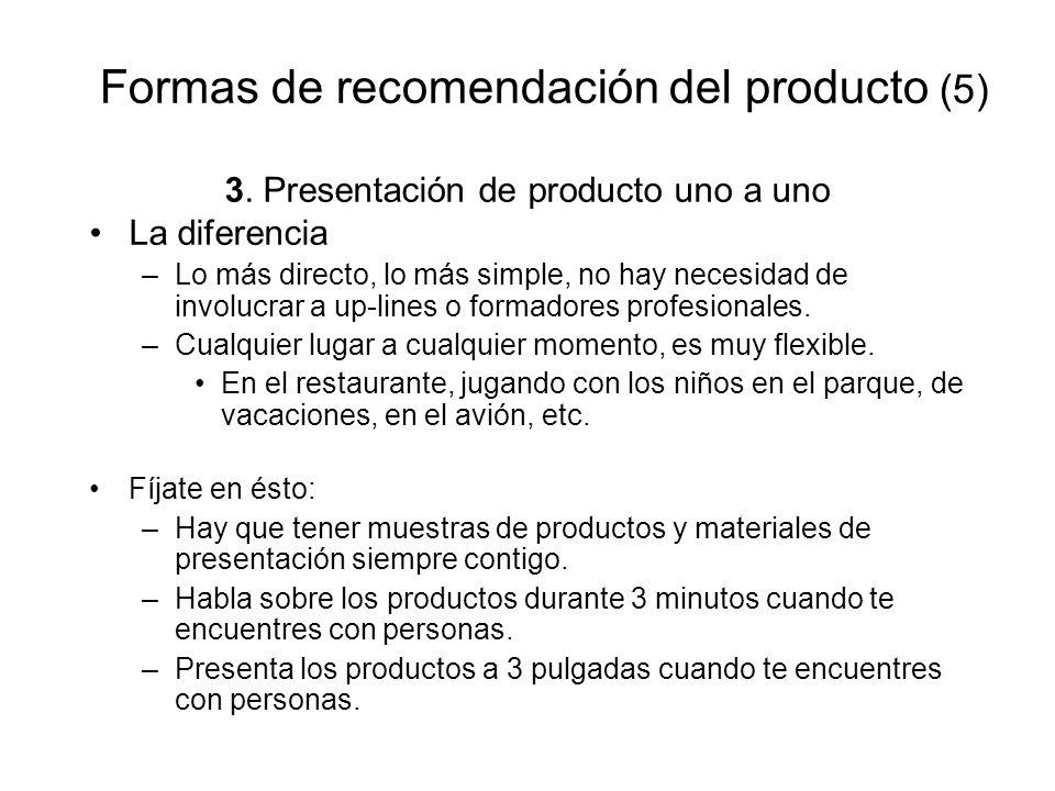 Formas de recomendación del producto (5) 3. Presentación de producto uno a uno La diferencia –Lo más directo, lo más simple, no hay necesidad de invol