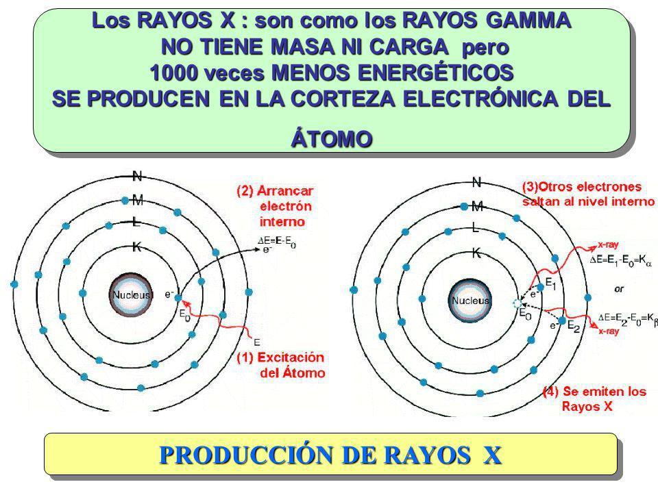 Los RAYOS X : son como los RAYOS GAMMA NO TIENE MASA NI CARGA pero 1000 veces MENOS ENERGÉTICOS SE PRODUCEN EN LA CORTEZA ELECTRÓNICA DEL ÁTOMO PRODUC
