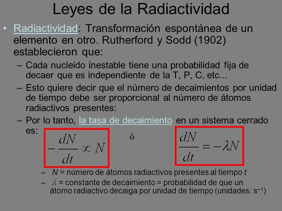 Leyes de la Radiactividad Radiactividad: Transformación espontánea de un elemento en otro. Rutherford y Sodd (1902) establecieron que: –Cada nucleido