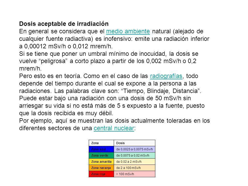 Dosis aceptable de irradiación En general se considera que el medio ambiente natural (alejado de cualquier fuente radiactiva) es inofensivo: emite una