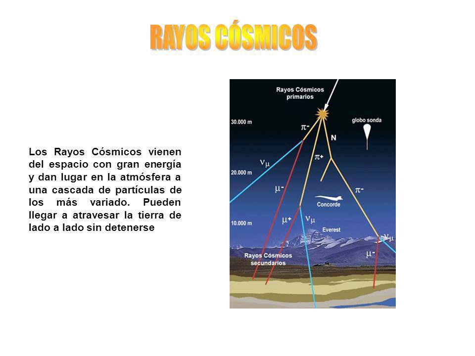 Los Rayos Cósmicos vienen del espacio con gran energía y dan lugar en la atmósfera a una cascada de partículas de los más variado. Pueden llegar a atr