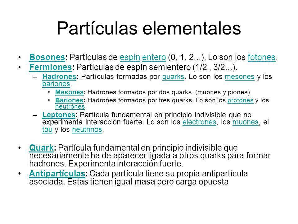 Partículas elementales Bosones: Partículas de espín entero (0, 1, 2...). Lo son los fotones.Bosonesespínenterofotones Fermiones: Partículas de espín s