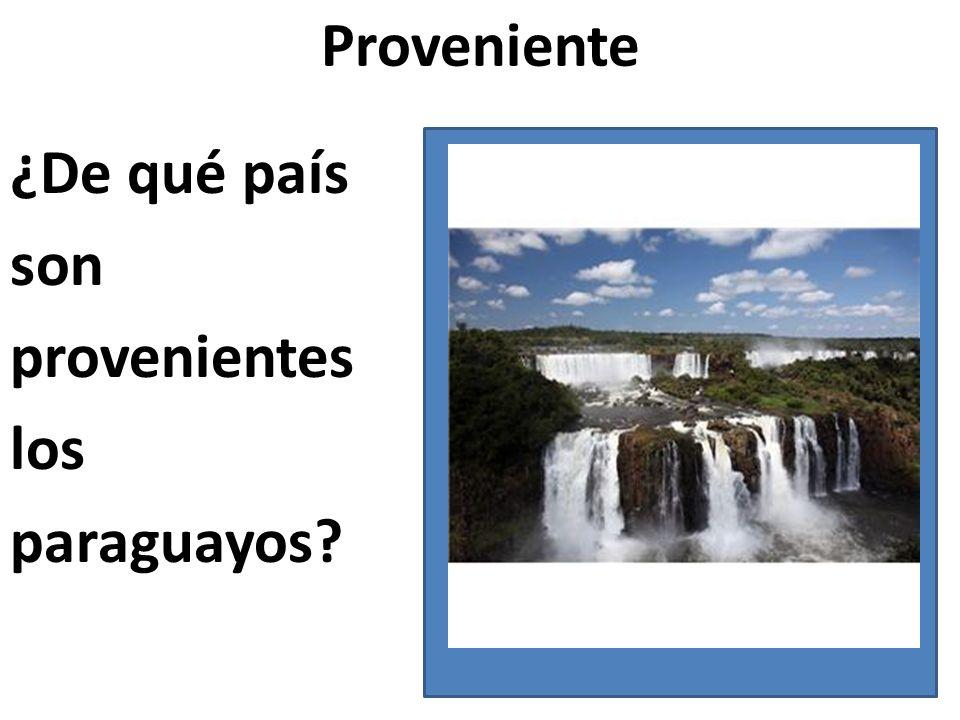 Proveniente ¿De qué país son provenientes los paraguayos?