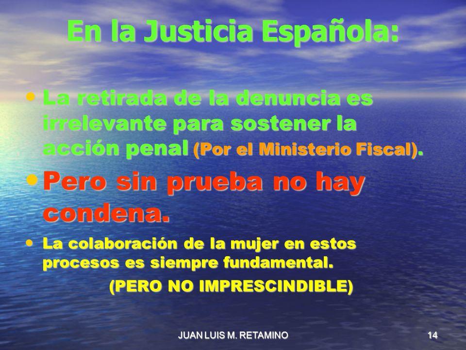 JUAN LUIS M. RETAMINO14 En la Justicia Española: La retirada de la denuncia es irrelevante para sostener la acción penal (Por el Ministerio Fiscal). L