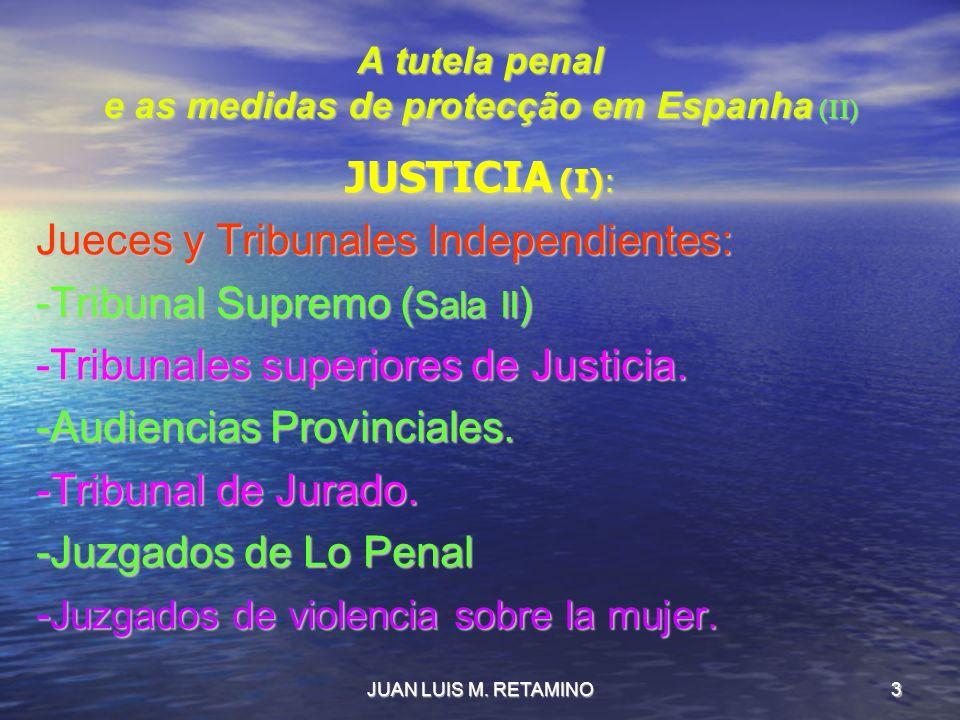 JUAN LUIS M. RETAMINO3 A tutela penal e as medidas de protecção em Espanha (II) JUSTICIA (I): Jueces y Tribunales Independientes: -Tribunal Supremo (