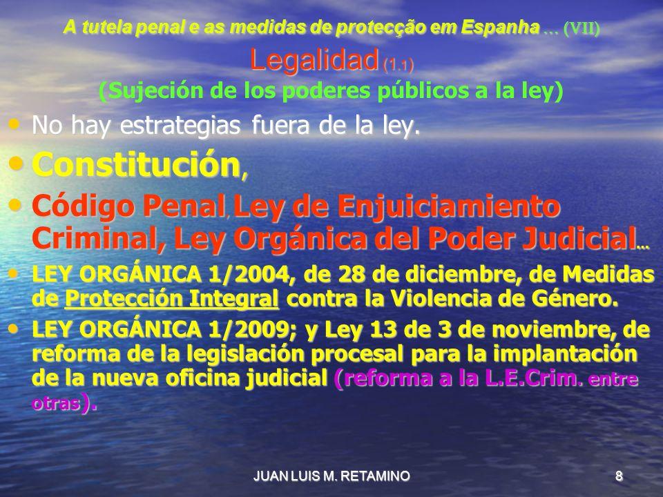 JUAN LUIS M. RETAMINO8 A tutela penal e as medidas de protecção em Espanha … (VII) Legalidad (1.1 ) A tutela penal e as medidas de protecção em Espanh
