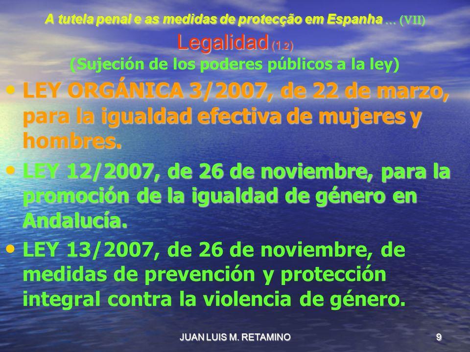 JUAN LUIS M. RETAMINO9 A tutela penal e as medidas de protecção em Espanha … (VII) Legalidad (1.2 ) A tutela penal e as medidas de protecção em Espanh