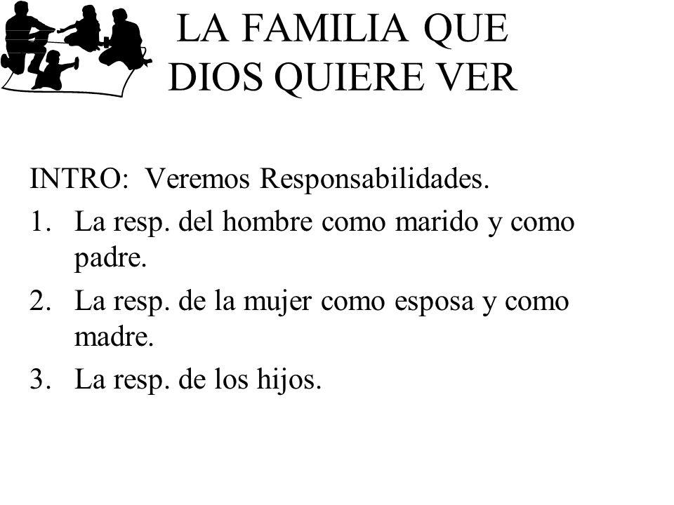 LA FAMILIA QUE DIOS QUIERE VER INTRO: Veremos Responsabilidades. 1.La resp. del hombre como marido y como padre. 2.La resp. de la mujer como esposa y