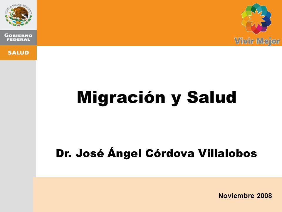 Noviembre 2008 Migración y Salud Dr. José Ángel Córdova Villalobos Migración y Salud Dr.