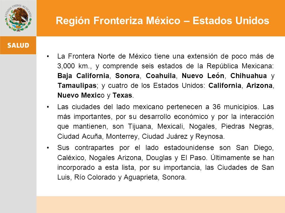 La Frontera Norte de México tiene una extensión de poco más de 3,000 km., y comprende seis estados de la República Mexicana: Baja California, Sonora, Coahuila, Nuevo León, Chihuahua y Tamaulipas; y cuatro de los Estados Unidos: California, Arizona, Nuevo Mexico y Texas.