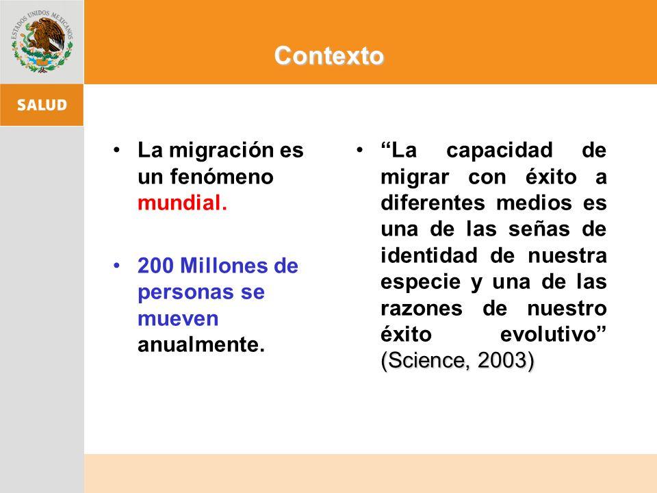 El fenómeno de los migrantes que cada año cruzan la frontera México- Estados Unidos, tiene importantes implicaciones en la salud pública debido a que favorece el incremento de problemas de salud como VIH/SIDA, enfermedades de transmisión sexual, adicciones, padecimientos mentales, violencia intrafamiliar, nutrición y salud bucal.